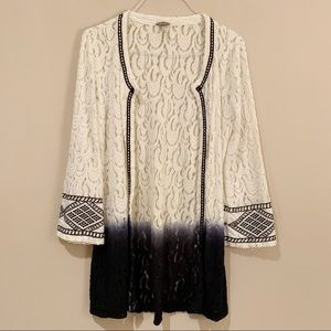 BKE Ombre Embroidered Boho Lace Cardigan